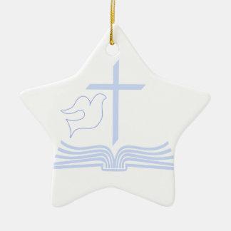 Dove Cross & Bible Ceramic Ornament