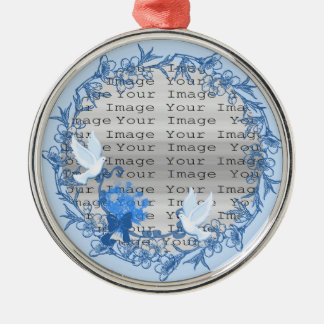 Dove Custom Round Silver Ornament