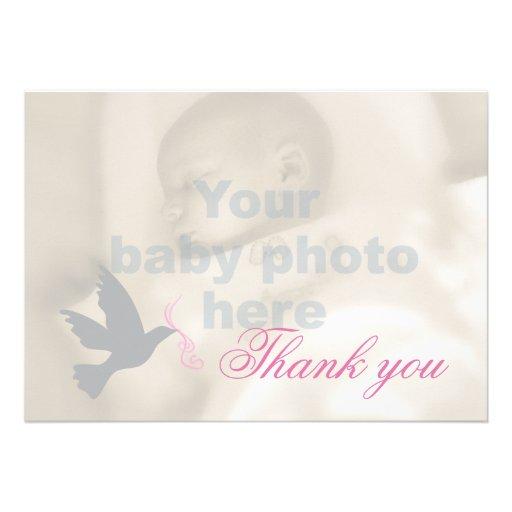 Dove dusky pink girls baptism photo thank you card