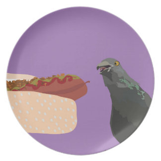 dove eating melamine plate