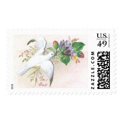 Dove Flower Spray Postage Stamp