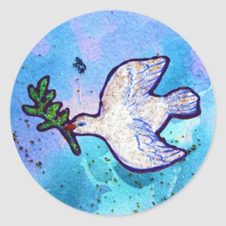 Dove Flying In The Blue Sky Sticker