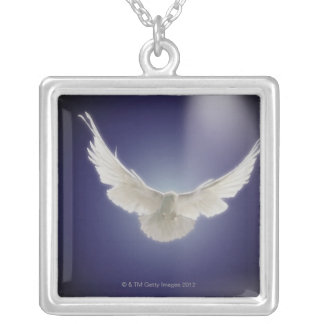 Dove flying through beam of light silver plated necklace