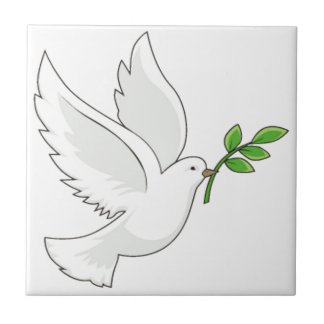Dove flying with a branch in its mouth ceramic tiles
