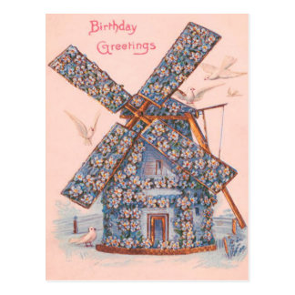Dove Forget-Me-Not Windmill Postcard