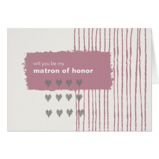 Dove Gray and Pink Be My Matron of Honor Card