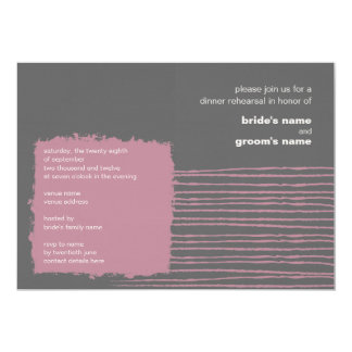 "Dove Gray and Pink  Dinner Rehearsal Invitation 5"" X 7"" Invitation Card"