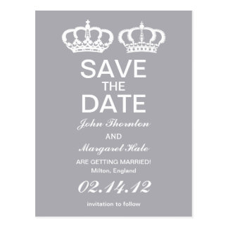 Dove Gray Royal Couple Save the Date Postcard