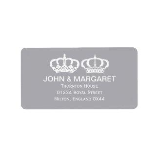 Dove Gray Royal Couple Wedding Address Label