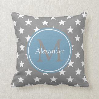 Dove Grey and Carolina Blue Stars Monogram Throw Pillow
