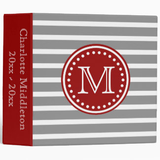 Dove Grey and Nautical Red Striped Monogram Binder