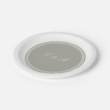 Beach Themed Dove Grey and White Borders and Text Paper Plate