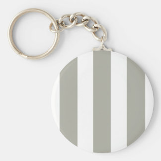 Dove Grey and White Cabana Stripes Basic Round Button Keychain