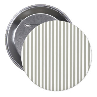Dove Grey and White Cabana Stripes 3 Inch Round Button
