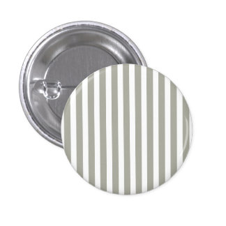 Dove Grey and White Cabana Stripes 1 Inch Round Button