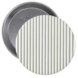 Dove Grey and White Cabana Stripes 4 Inch Round Button