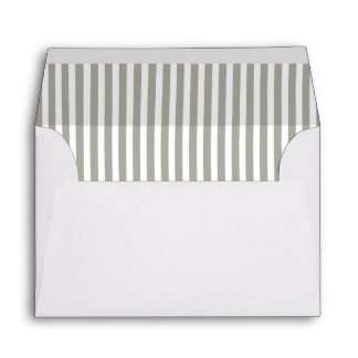 Dove Grey and White Cabana Stripes Envelope
