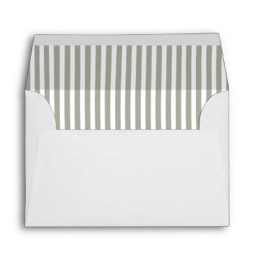Beach Themed Dove Grey and White Cabana Stripes Envelope