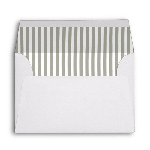 Dove Grey and White Cabana Stripes Envelope