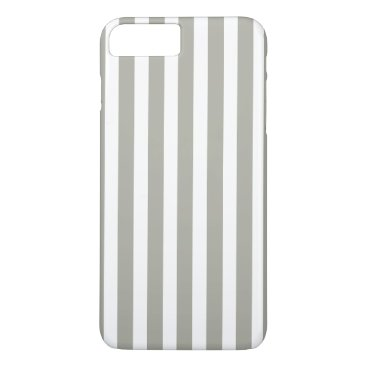 Beach Themed Dove Grey and White Cabana Stripes iPhone 7 Plus Case