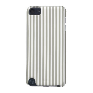 Dove Grey and White Cabana Stripes iPod Touch (5th Generation) Case