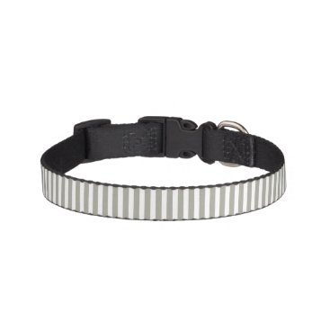 honor_and_obey Dove Grey and White Cabana Stripes Pet Collar