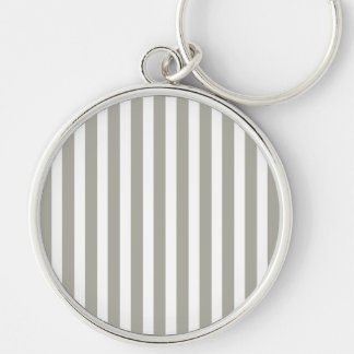 Dove Grey and White Cabana Stripes Silver-Colored Round Keychain