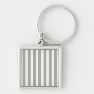 Dove Grey and White Cabana Stripes Silver-Colored Square Keychain