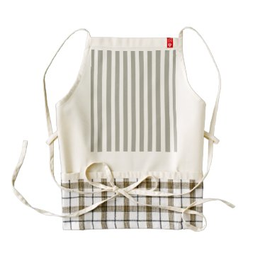 Beach Themed Dove Grey and White Cabana Stripes Zazzle HEART Apron
