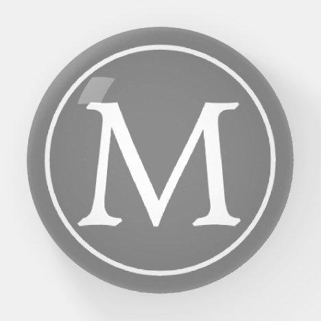 Dove Grey and White Monogram Paperweight