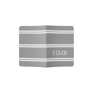 Dove Grey and White Stripe Monogram Passport Holder