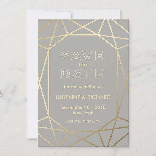 7f1070fcbdbb3 Dove Grey & Gold Geometric Wedding Save the Date