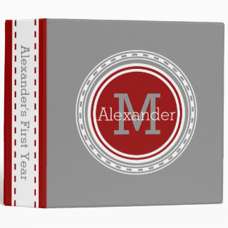 Dove Grey Nautical Red Personalized Monogram Binder