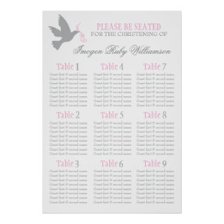 Dove grey pink event seating table plan 1-9 poster