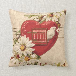 Dove Heart Birdhouse Daisy Daisies Throw Pillow