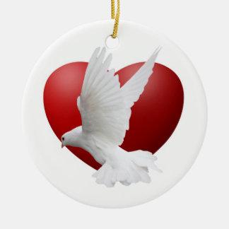 Dove Heart Circular Holiday Ornament