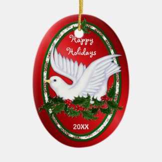Dove & Holly Ornaments