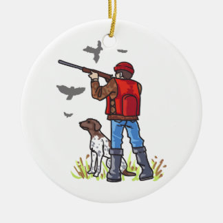 DOVE HUNTER AND DOG CERAMIC ORNAMENT