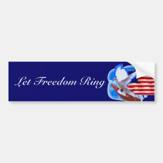 Dove in front of American Flag Car Bumper Sticker