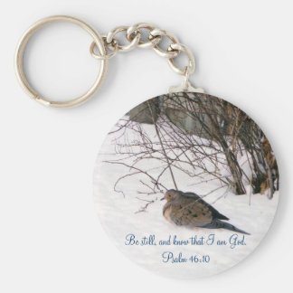 Dove in the Snow Scripture Keychain