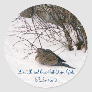 Dove in the Snow Scripture Stickers