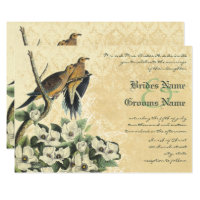 Dove Love Bird Magnolia and Lace Wedding Invites