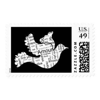 Dove made of words for love in different languages postage stamps