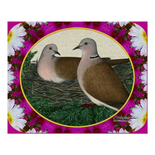 Dove Nest and Flowers Poster