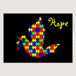 Dove of Hope - Autism Puzzle Pieces Card