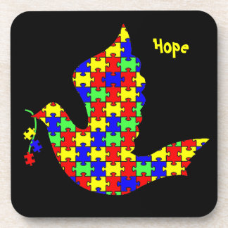 Dove of Hope - Autism Puzzle Pieces Coaster