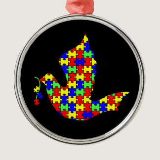 Dove of Hope - Autism Puzzle Pieces Metal Ornament