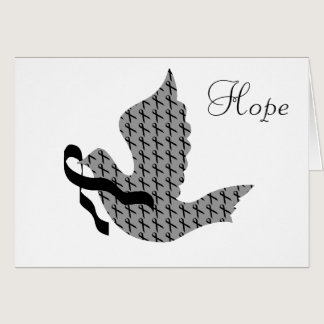 Dove of Hope Black Ribbon - Melanoma Card