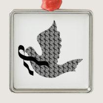 Dove of Hope Black Ribbon - Melanoma Metal Ornament