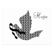 Dove of Hope Black Ribbon - Melanoma Postcard